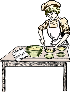 woman, baking, bakery